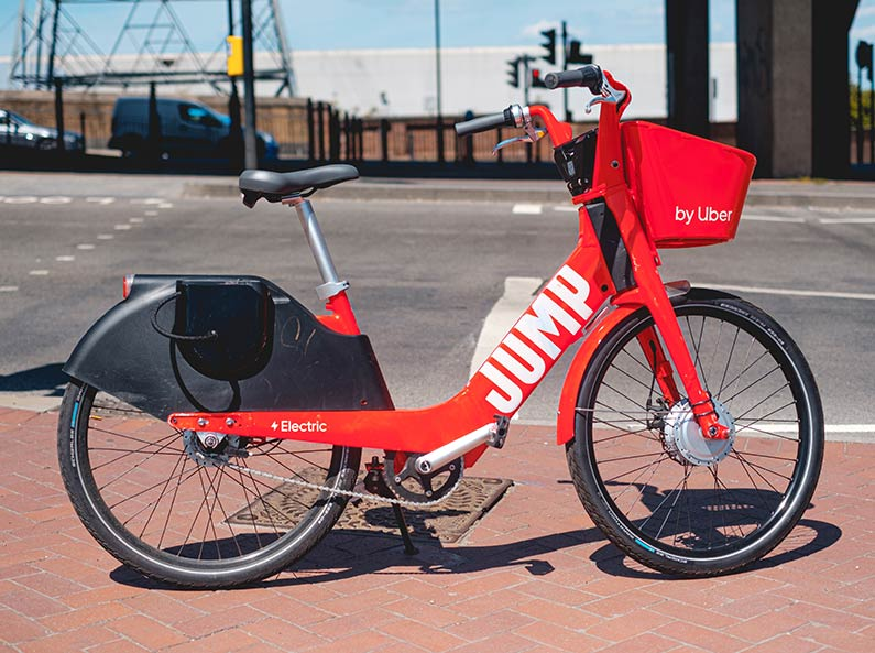 Uber courier electric bike, ebike used to transport goods