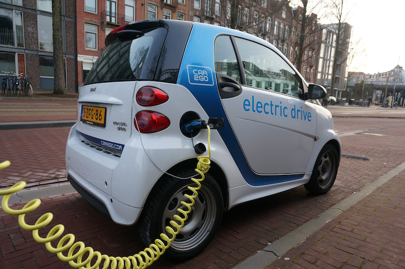 Electric car in Europe, one of the leading green transportation vehicles used in Amsterdam — Electric Drive